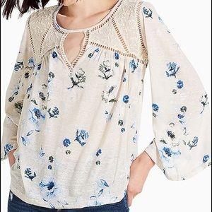 Lucky Brand Floral Long Sleeve Flowy Blouse   XL